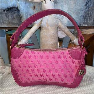 Dooney & Bourke Pink Leather Canvas Hobo Bag